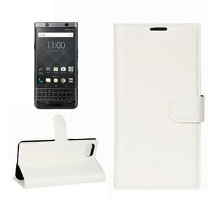 For BlackBerry Keyone Litchi Texture Horizontal Flip Leather Case with Holder & Card Slots & Wallet(White)