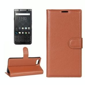 For BlackBerry Keyone Litchi Texture Horizontal Flip Leather Case with Holder & Card Slots & Wallet(Brown)