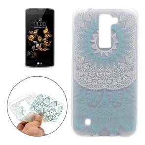 For LG K8 Blue Pattern Transparent Soft TPU Protective Back Cover Case