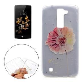 For LG K8 Flower Pattern Transparent Soft TPU Protective Back Cover Case