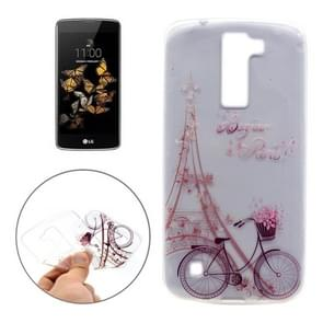 For LG K8 Iron Tower and Bike Pattern Transparent Soft TPU Protective Back Cover Case