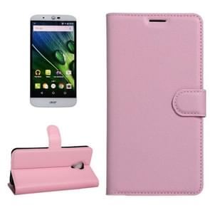 For Acer Liquid Z6 Plus Litchi Texture Horizontal Flip PU Leather Case with Holder & Card Slots & Wallet(Pink)