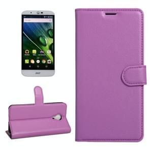For Acer Liquid Z6 Plus Litchi Texture Horizontal Flip PU Leather Case with Holder & Card Slots & Wallet(Purple)
