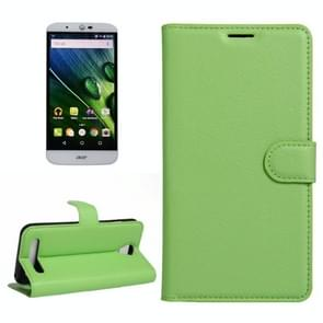 For Acer Liquid Z6 Litchi Texture Horizontal Flip PU Leather Case with Holder & Card Slots & Wallet(Green)