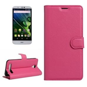 For Acer Liquid Z6 Litchi Texture Horizontal Flip PU Leather Case with Holder & Card Slots & Wallet(Magenta)