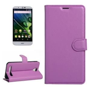 For Acer Liquid Z6 Litchi Texture Horizontal Flip PU Leather Case with Holder & Card Slots & Wallet(Purple)