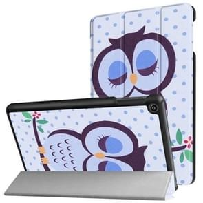 For Amazon Fire HD8 (2017) Dot and Owl Pattern Horizontal Deformation Flip Leather Case with Three-folding Holder & Sleep / Wake-up