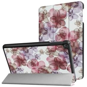 For Amazon Fire HD8 (2017) Colorful Painted Flower Pattern Horizontal Deformation Flip Leather Case with Three-folding Holder & Sleep / Wake-up
