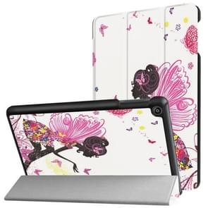 For Amazon Fire HD8 (2017) Butterfly Fairy Pattern Horizontal Deformation Flip Leather Case with Three-folding Holder & Sleep / Wake-up