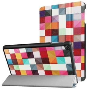 For Amazon Fire HD8 (2017) Colorful Box Pattern Horizontal Deformation Flip Leather Case with Three-folding Holder & Sleep / Wake-up