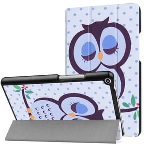 Huawei MediaPad T3 8.0 Dot and Owl Pattern Horizontal Deformation Flip Leather Case with Three-folding Holder