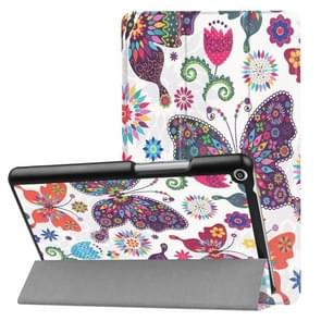 Huawei MediaPad T3 8.0 Butterfly Pattern Horizontal Deformation Flip Leather Case with Three-folding Holder