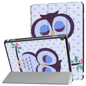 Huawei MediaPad M3 Lite 10 Dot and Owl Pattern Horizontal Deformation Flip Leather Case with Three-folding Holder & Sleep / Wake-up