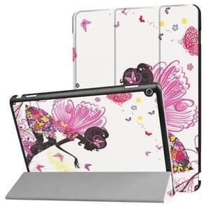 Huawei MediaPad M3 Lite 10 Butterfly Fairy Pattern Horizontal Deformation Flip Leather Case with Three-folding Holder & Sleep / Wake-up