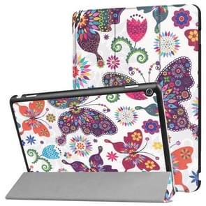 Huawei MediaPad M3 Lite 10 Butterfly Pattern Horizontal Deformation Flip Leather Case with Three-folding Holder & Sleep / Wake-up