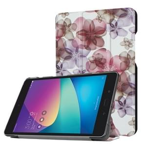 For ASUS ZenPad Z8s (ZT582KL) Colorful Painted Flower Pattern Horizontal Deformation Flip Leather Case with Three-folding Holder