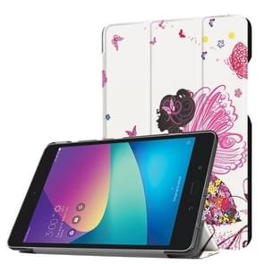 For ASUS ZenPad Z8s (ZT582KL) Butterfly Fairy Pattern Horizontal Deformation Flip Leather Case with Three-folding Holder