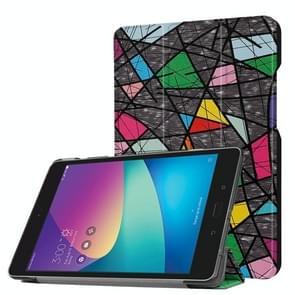 For ASUS ZenPad Z8s (ZT582KL) Color Polygonal Pattern Horizontal Deformation Flip Leather Case with Three-folding Holder