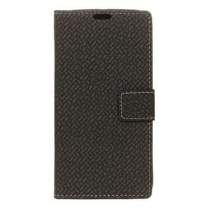 For Alcatel Flash Plus 2 Weaving Texture Horizontal Flip PU Leather Case with Magnetic Buckle & Holder & Card Slots & Wallet & Photo Frame(Black)