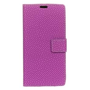 For Alcatel Flash Plus 2 Weaving Texture Horizontal Flip PU Leather Case with Magnetic Buckle & Holder & Card Slots & Wallet & Photo Frame(Purple)