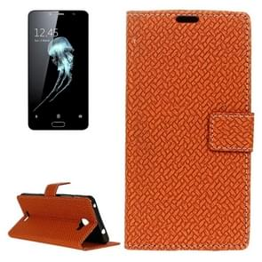 For Alcatel Flash Plus 2 Weaving Texture Horizontal Flip PU Leather Case with Magnetic Buckle & Holder & Card Slots & Wallet & Photo Frame(Brown)