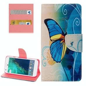 For Google Pixel Half Blue Butterfly Pattern Horizontal Flip Leather Case with Holder & Card Slots & Wallet