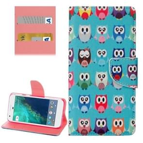For Google Pixel Lovely Cartoon Owls Pattern Horizontal Flip Leather Case with Holder & Card Slots & Wallet