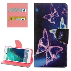 For Google Pixel Purple Crystal Butterflies Pattern Horizontal Flip Leather Case with Holder & Card Slots & Wallet