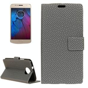 For Motorola Moto G5s Knit Texture Horizontal Flip Leather Case with Holder & Card Slots & Wallet (Grey)