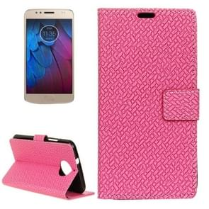 For Motorola Moto G5s Knit Texture Horizontal Flip Leather Case with Holder & Card Slots & Wallet (Magenta)