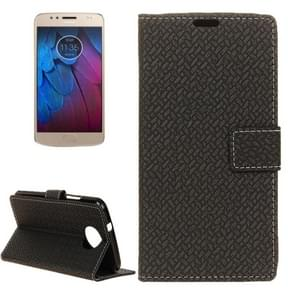 For Motorola Moto G5s Plus Knit Texture Horizontal Flip Leather Case with Holder & Card Slots & Wallet (Black)