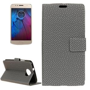 For Motorola Moto G5s Plus Knit Texture Horizontal Flip Leather Case with Holder & Card Slots & Wallet (Grey)