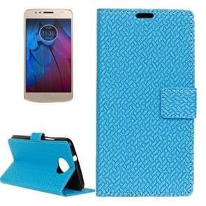 For Motorola Moto G5s Plus Knit Texture Horizontal Flip Leather Case with Holder & Card Slots & Wallet (Blue)