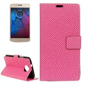 For Motorola Moto G5s Plus Knit Texture Horizontal Flip Leather Case with Holder & Card Slots & Wallet (Magenta)