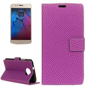 For Motorola Moto G5s Plus Knit Texture Horizontal Flip Leather Case with Holder & Card Slots & Wallet (Purple)