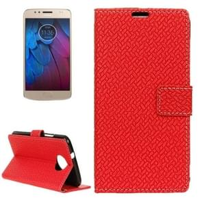 For Motorola Moto G5s Plus Knit Texture Horizontal Flip Leather Case with Holder & Card Slots & Wallet (Red)