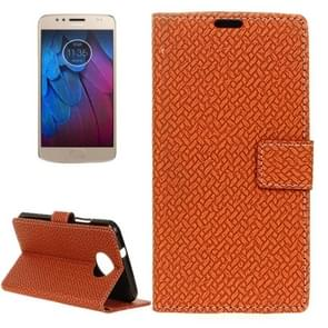 For Motorola Moto G5s Plus Knit Texture Horizontal Flip Leather Case with Holder & Card Slots & Wallet (Brown)