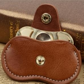 Fidget Hand Spinner Finger Toy Fingertip Gyro Genuine Leather Case Good Bag Without Fingertip Gyro, Size: 9 x 5cm(Brown)