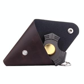 Fidget Hand Spinner Triangle Finger Toy Fingertip Gyro Triangle Genuine Leather Case Good Bag without Fingertip Gyro, Size: 9 x 9cm(Coffee)