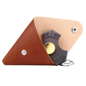 Fidget Hand Spinner Triangle Finger Toy Fingertip Gyro Triangle Genuine Leather Case Good Bag without Fingertip Gyro, Size: 9 x 9cm(Brown)