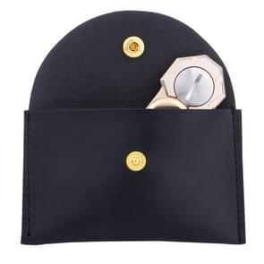 Fidget Hand Spinner Triangle Finger Toy Fingertip Gyro Rectangular Genuine Leather Case Good Bag without Fingertip Gyro, Size: 10 x 9cm(Black)