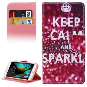 Keep Calm And Sparkl Pattern Horizontal Flip Leather Case with Holder & Card Slots & Wallet for LG K10