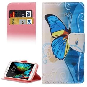Blue Butterfly Pattern Horizontal Flip Leather Case with Holder & Card Slots & Wallet for LG K10