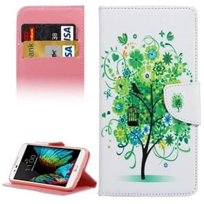 Flower Tree Pattern Horizontal Flip Leather Case with Holder & Card Slots & Wallet for LG K10