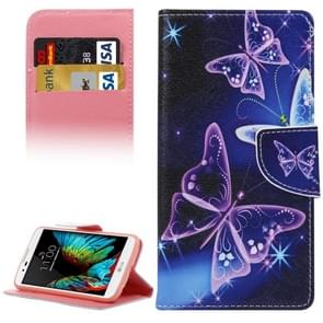 Purple Butterfly Pattern Horizontal Flip Leather Case with Holder & Card Slots & Wallet for LG K10