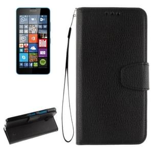 For Microsoft Lumia 640 Litchi Texture Horizontal Flip Leather Case with Holder & Card Slots & Wallet & Photo Frame & Lanyard(Black)