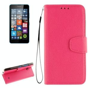 For Microsoft Lumia 640 Litchi Texture Horizontal Flip Leather Case with Holder & Card Slots & Wallet & Photo Frame & Lanyard(Magenta)