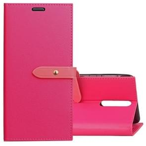 For Nokia 8 Business Style Leather Case with Holder & Card Slots & Wallet (Magenta)