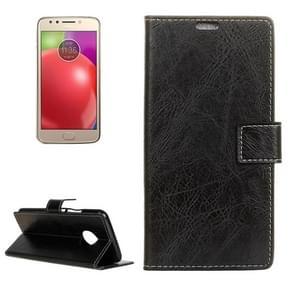 For Motorola Moto E4 (US Version ) Retro Crazy Horse Texture Horizontal Flip Leather Case with Holder & Card Slots & Wallet & Photo Frame (Black)