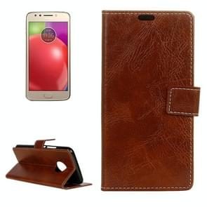 For Motorola Moto E4 (US Version ) Retro Crazy Horse Texture Horizontal Flip Leather Case with Holder & Card Slots & Wallet & Photo Frame (Brown)